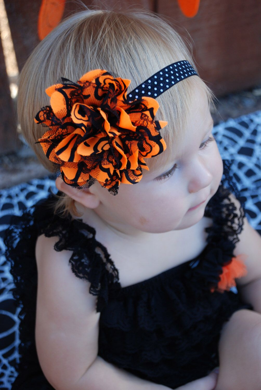 halloween headband, orange and black, baby headbands , shabby chic