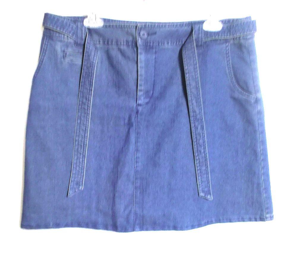White Stag denim skort 12 average skirt shorts belt zipper fly cotton spandex #WhiteStag #ALine