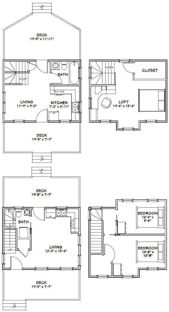 20x16 Tiny Houses Pdf Floor Plans 584 Sq By
