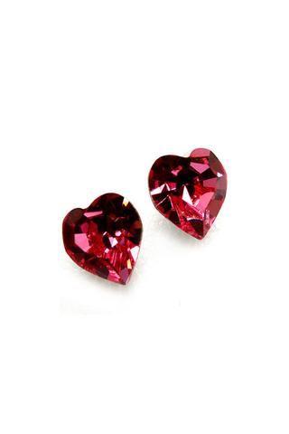 Raspberry Swarovski Crystal Hearts   Emma Stine Jewelry Earrings