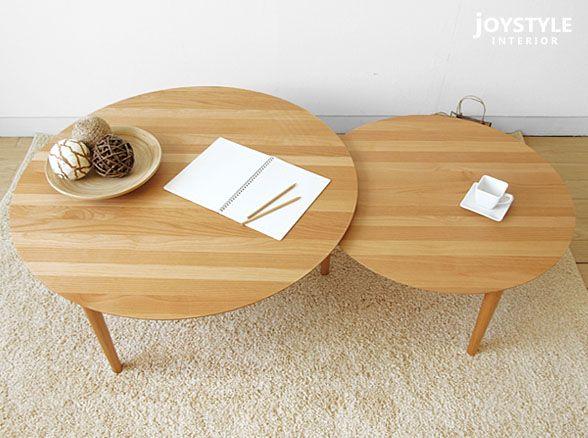 楽天市場 ローテーブル 幅90cm 幅147cm アルダー材 天然木 木製 円形で丸いセンターテーブル 風船のようなデザインがかわいい伸長機能付きリビングテーブル 90 2枚テーブル Joystyle Interior ローテーブル リビングテーブル センターテーブル