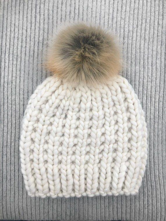 7c4e84ef088 The Oxford - Natural White   wool beanie faux fur pom pom