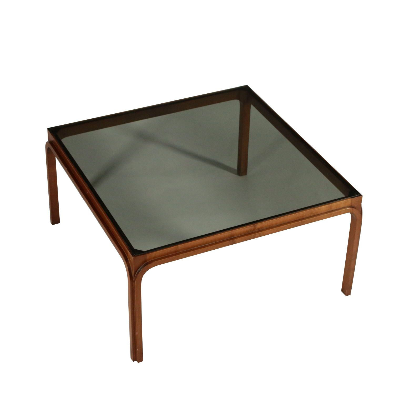 Coffee Table Beech Smoked Glass Vintage Italy 1960s 1970s Table Vintage Decoration Interieure Table Bois