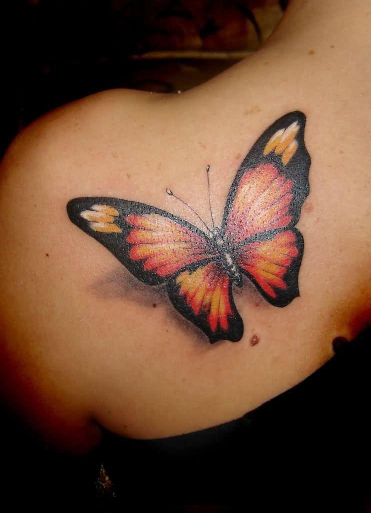 348de210b4ec9 Realistic Black and Orange Butterfly Tattoo on Left Back Shoulder ...