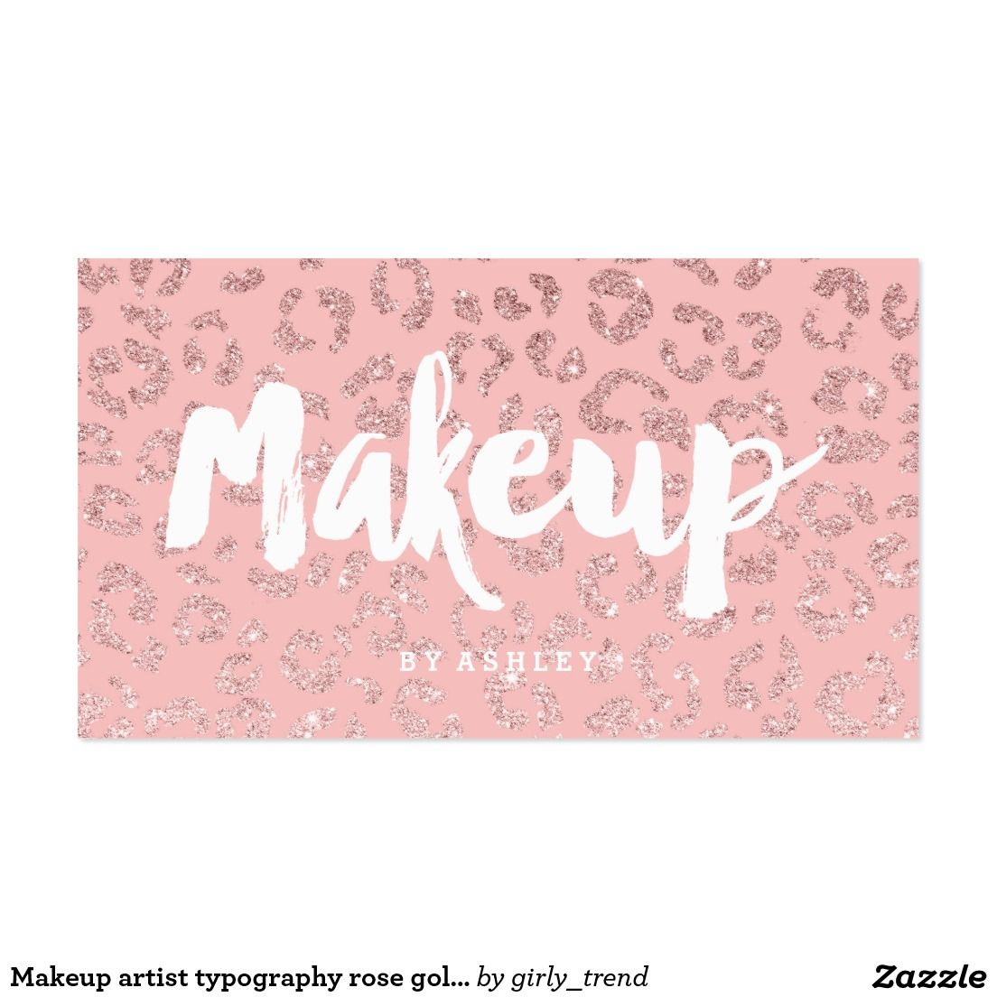 Makeup artist typography rose gold pink leopard business card | Pink ...