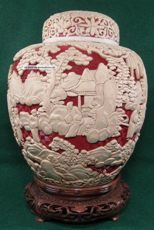 Antique chinese cinnabar vase pair of antique chinese red antique chinese cinnabar vase pair of antique chinese red white cinnabar 10 ginger reviewsmspy