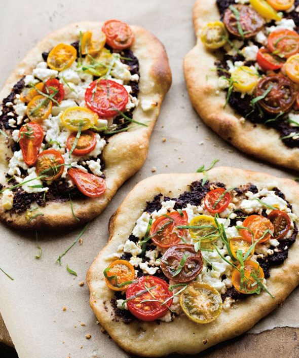 feta, cherry tomato, and olive tapenade pizzettes