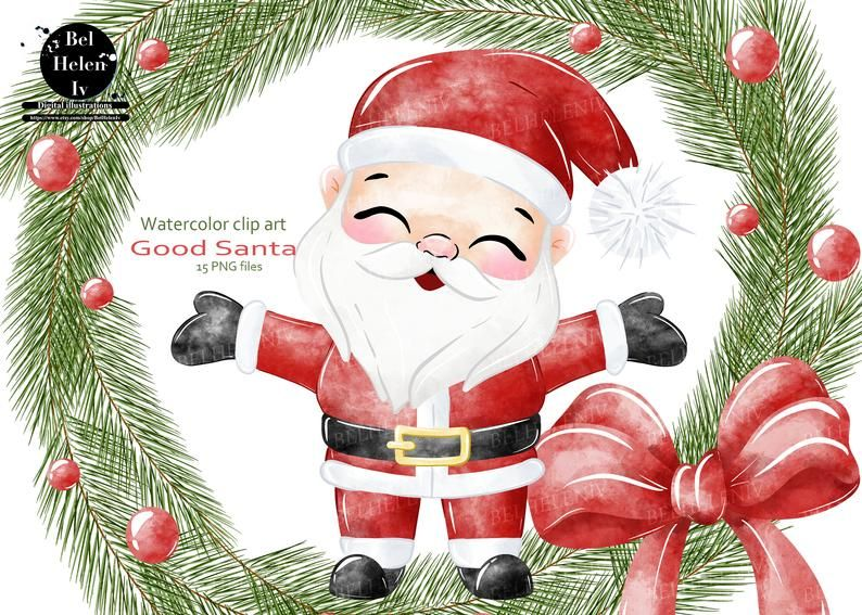Christmas Clipart Cute Santa Clip Art Watercolor Santa Cute Etsy Christmas Clipart Holiday Artwork Christmas Drawing