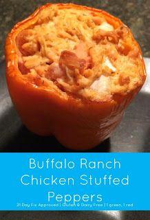 Taylor Nichols Buffalo Ranch Chicken Stuffed Peppers 21 Day Fix