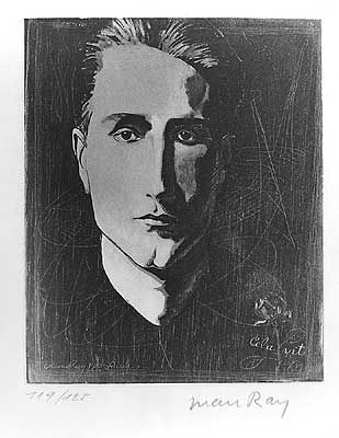 Man Ray, Portrait of Marcel Duchamp, original etching with aquatint in black ink reworked from a mixed media 1923