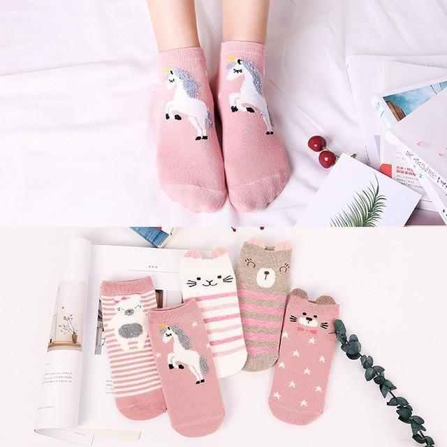 Cotton Socks Women Funny Print Animal Socks Kawaii Cute Casual Happy Fashion