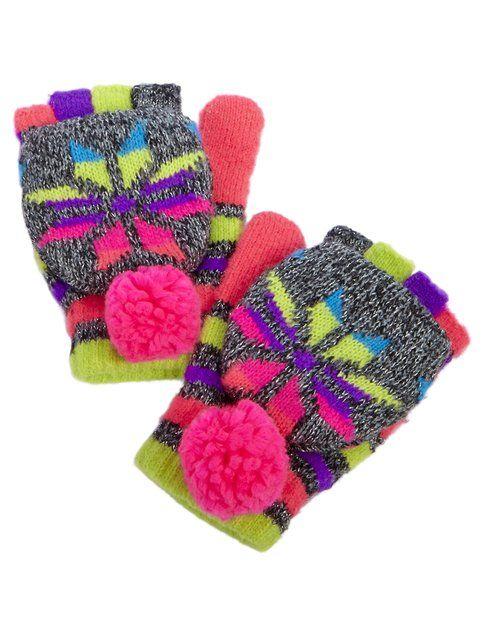 Flip Top Multi Fair Isle Gloves | Girls Hats Cold Weather | Shop ...