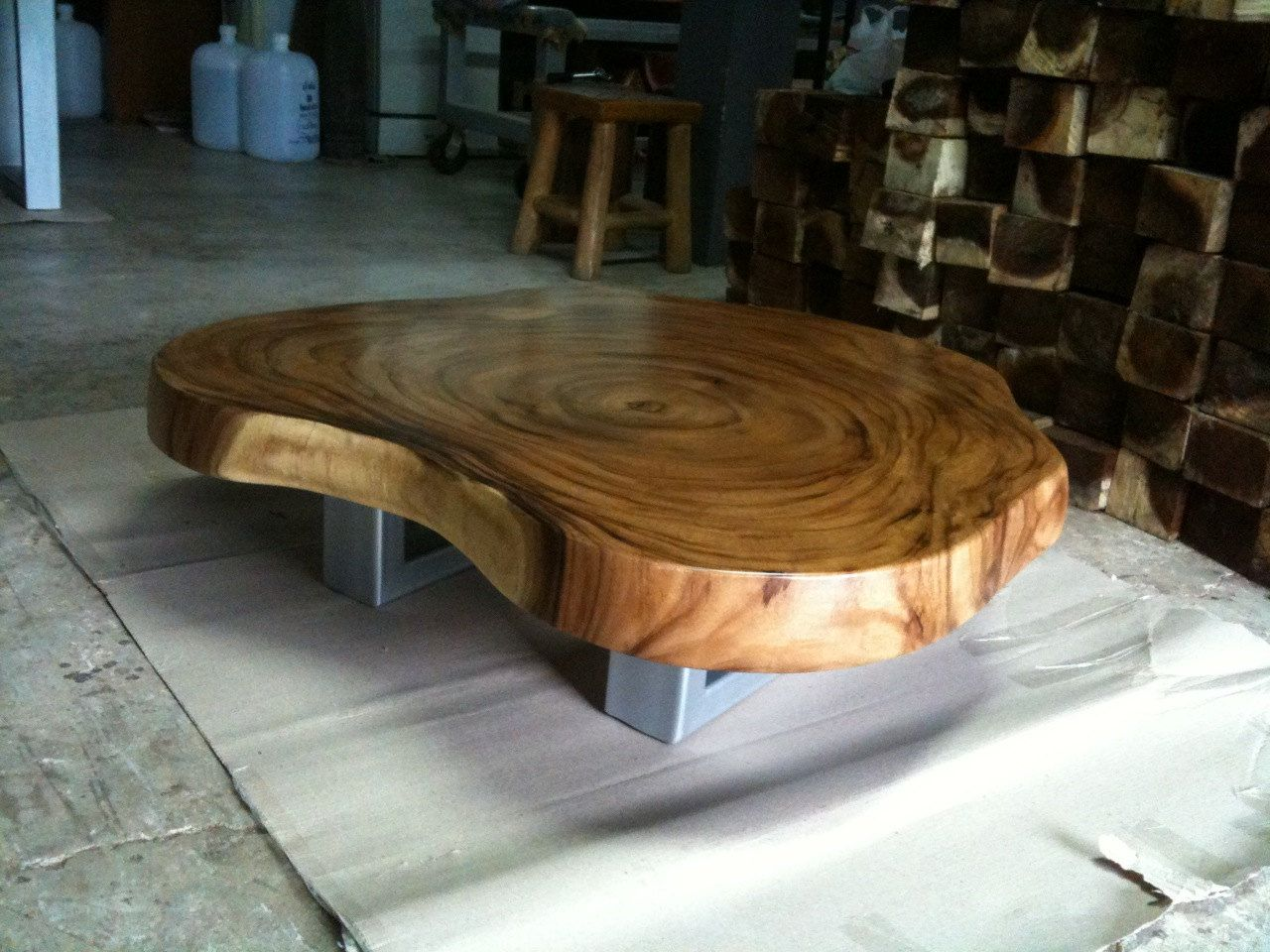 Coffee Table Reclaimed Acacia Wood Solid Slab By Flowbkk On Etsy
