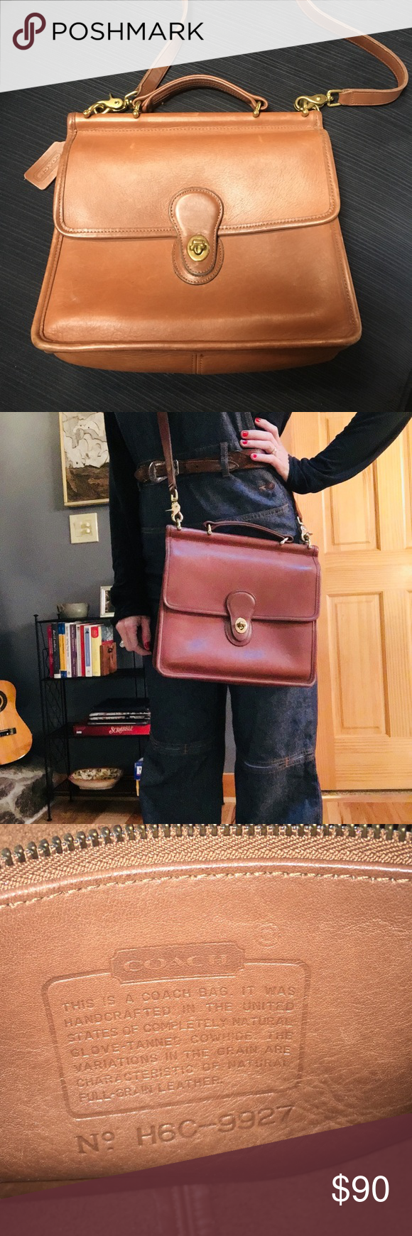 Vintage Coach! Gorgeous Willis Style- Cross Body  9927 Brown Cowhide  Leather Messenger Bag dccb9096aa