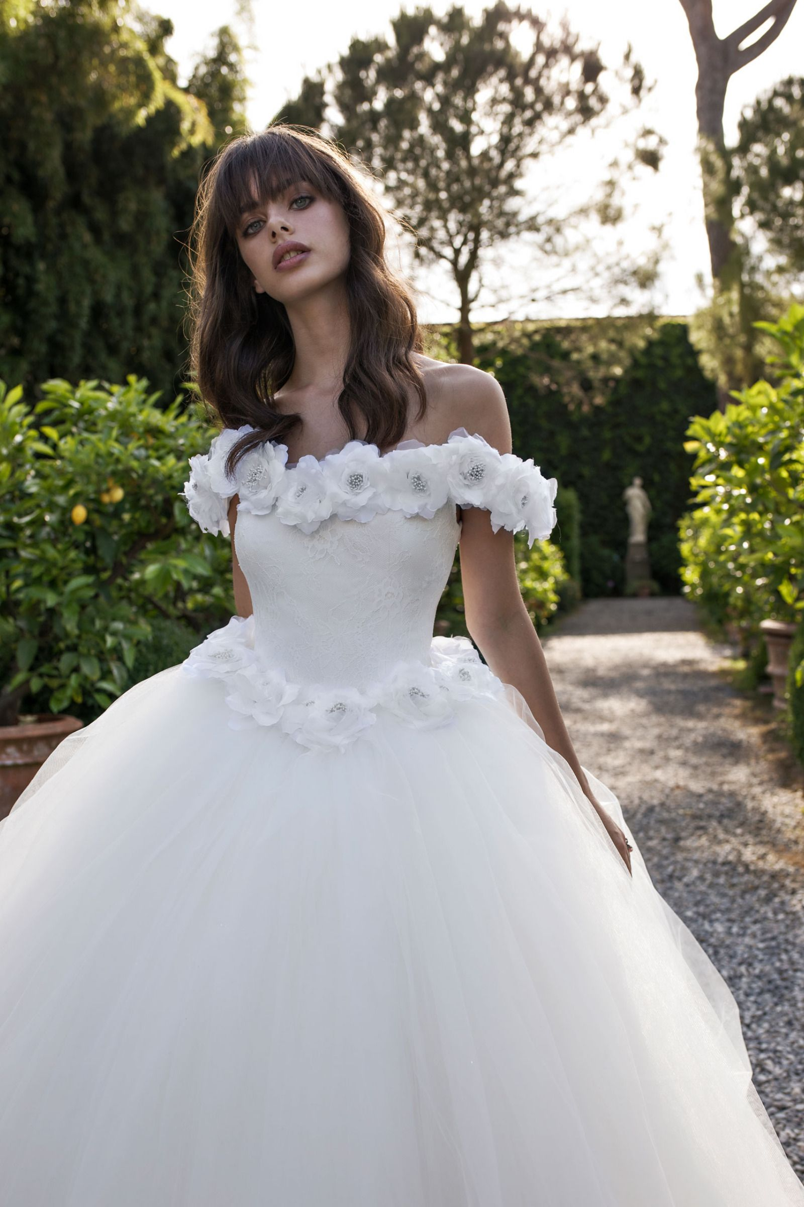Embroidered Off Shoulder White Tulle Wedding