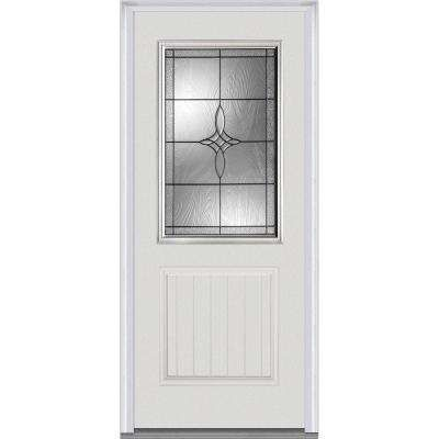 36 In X 80 In Lenora Decorative Glass 1 2 Lite 1 Panel Planked Primed Fiberglass Smooth Prehung Front Door Mmi Door Fiberglass Door Glass Decor
