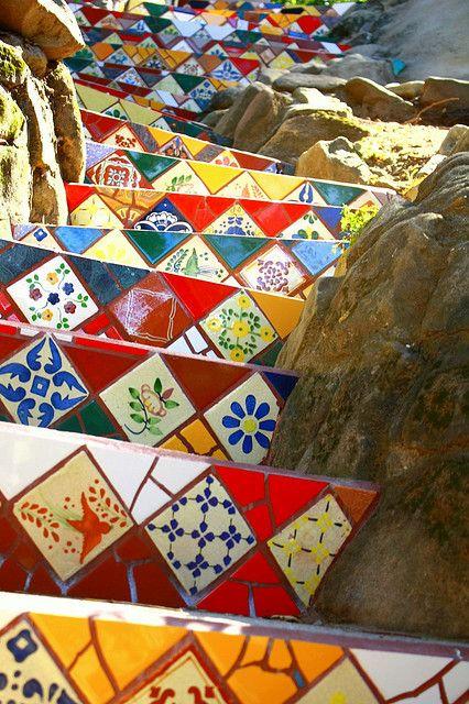 mosaic stairs, santa susana, CA  artist unknown
