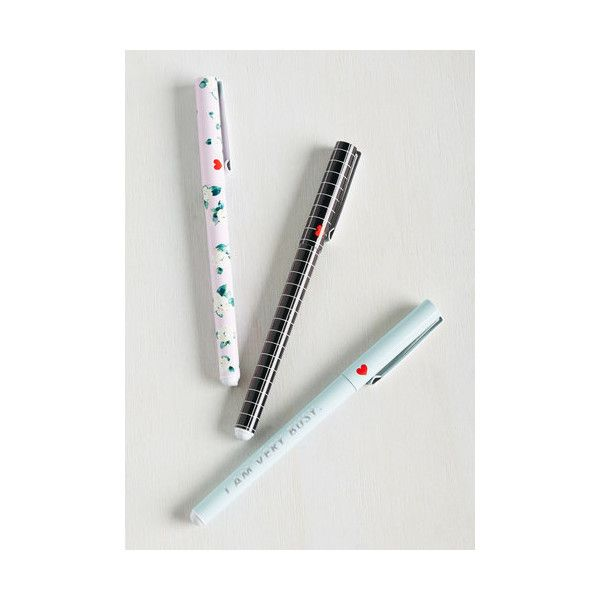Scholastic Scriven and Taken Pen Set (48 BRL) ❤ liked on Polyvore featuring home, home decor, office accessories, home accessory, office and floral pens