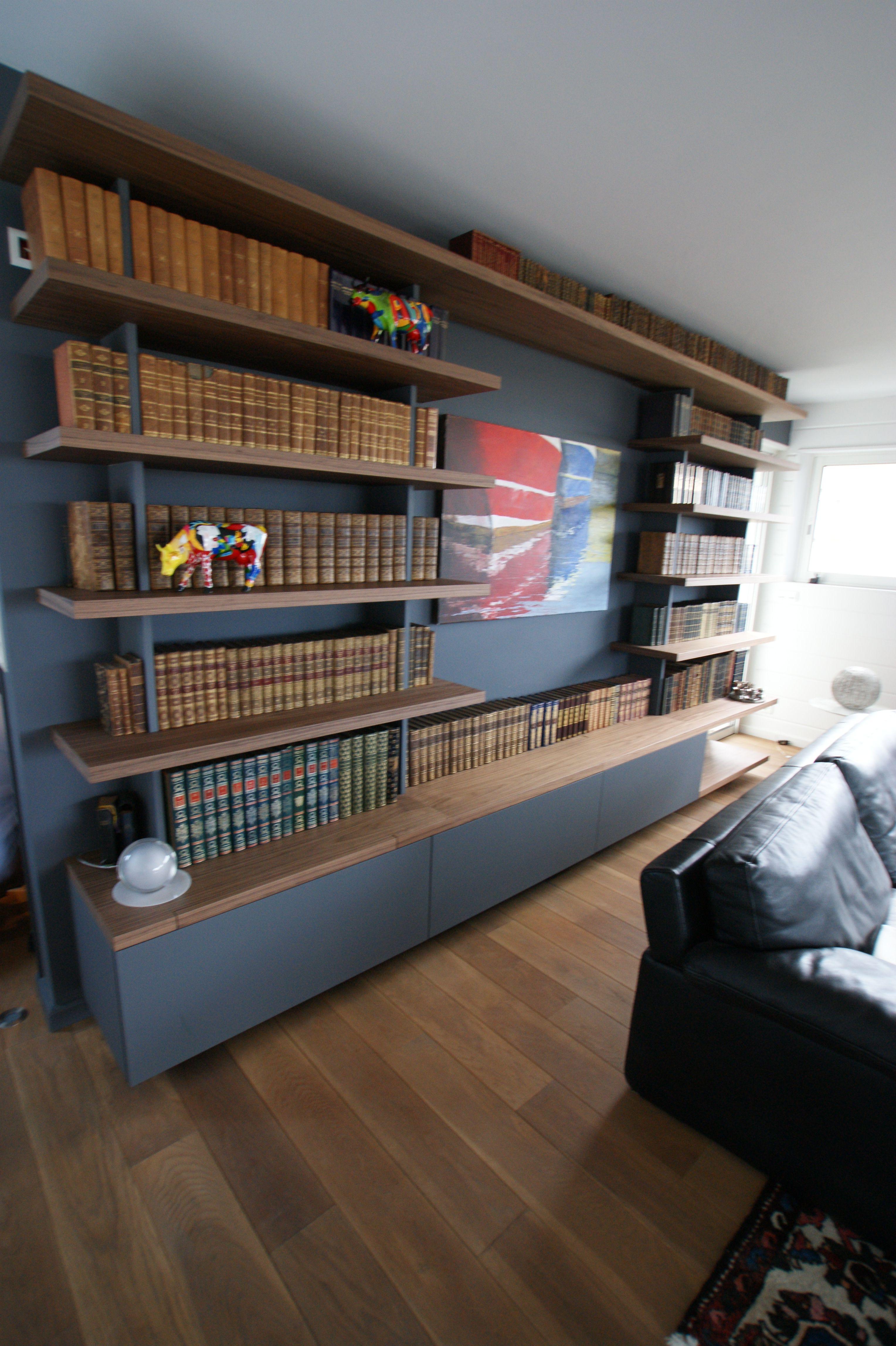 Bibliotheque Noyer Vernis Mdf Laque Bibliotheque Bois Wood Contemporain Mur Mobilier Sur Mesure Mobilier Bibliotheque