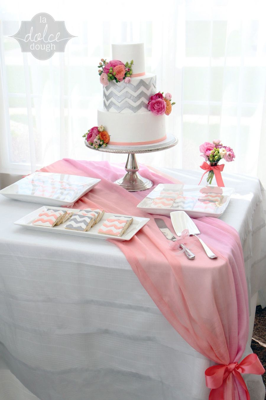 Coral Pink And Silver Chevron Bridal Shower Cake