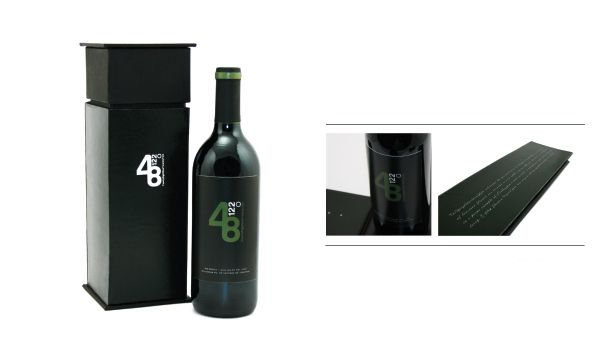 48.122 Wine packaging design. Bottle is concealed in a custom box when reveals the wine once the lid is removed. This giving off more than just another wine bottle sitting amongst hundreds. It really plays well with the latitude and longitude theme.