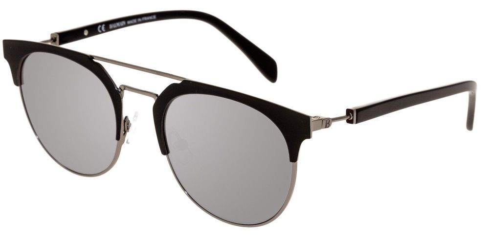 9920c91608 BALMAIN BL 2109 Matte Black Silver Flash Mirror Clubmaster Metal Sunglasses  BL21 Black Silver