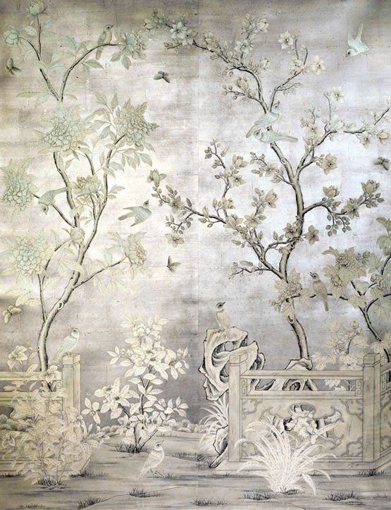 Chinoiserie mural over silver leaf chinoiserie floral for Chinoiserie mural wallpaper