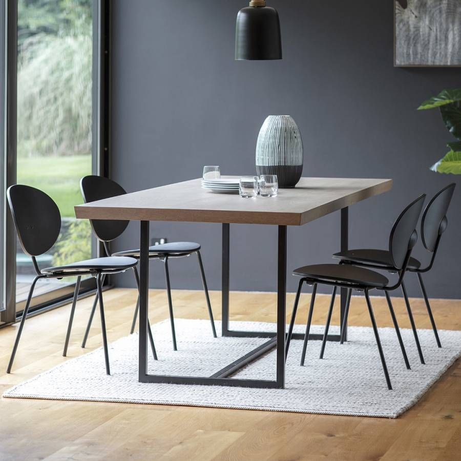 Gallery Forden Grey Rectangular Dining Table 4 Black Sidcup