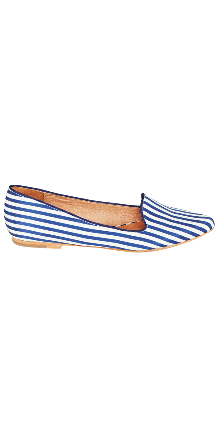 JOIE Day Dreaming Flats Sapphire Stripe Print | Smoking Slippers