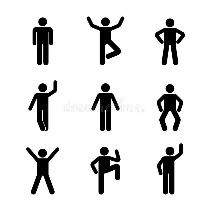 Man People Various Standing Position Posture Stick Figure Vector Illustration Ad Posture Stick Figure Positio Person Icon Stick Figures Human Icon