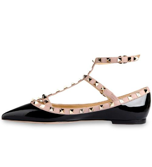 Valentino Ankle Strap Leather Ballerina Flats in . AURALL3