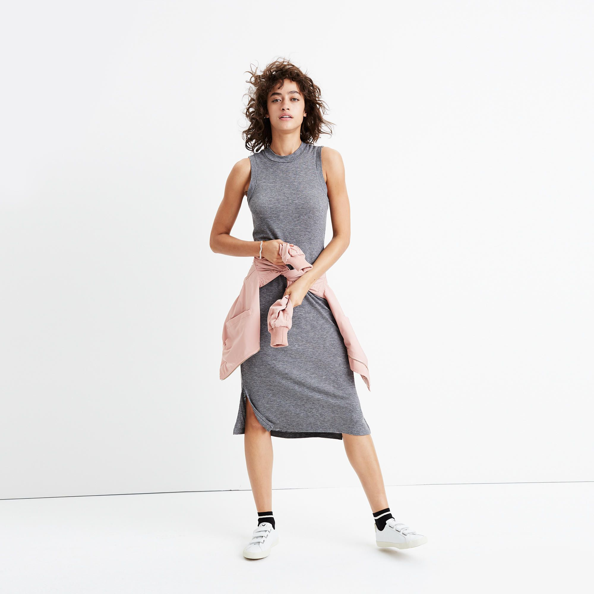 Madewell Ribbed Mockneck Midi Dress Womens Dresses Dresses Sleek Outfit [ 2000 x 2000 Pixel ]