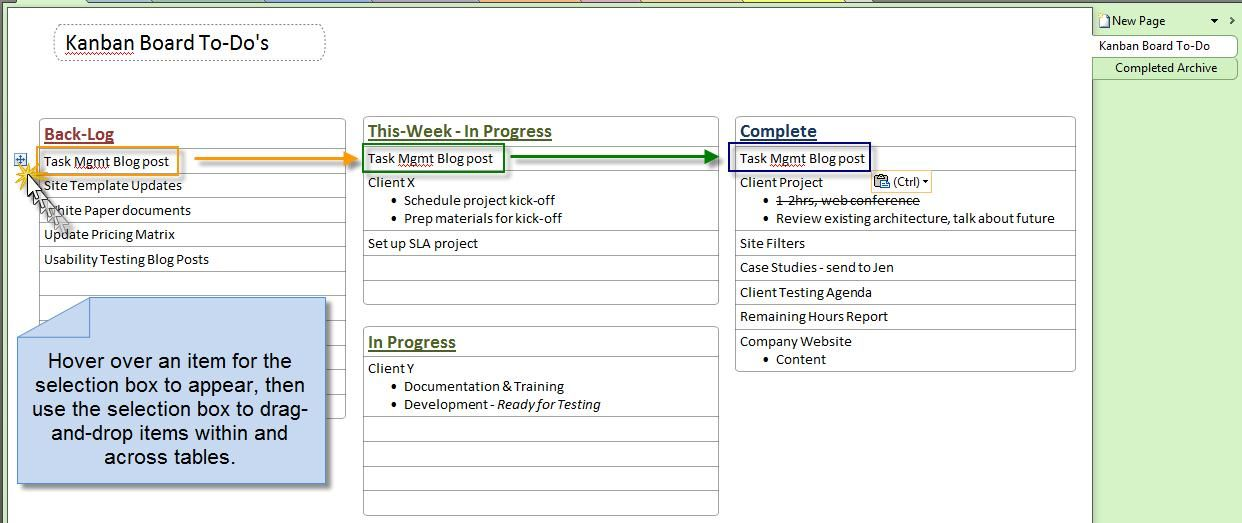 OneNote Kanban Board u2013 One Board to Rule The Tasks! Project - progress status report template