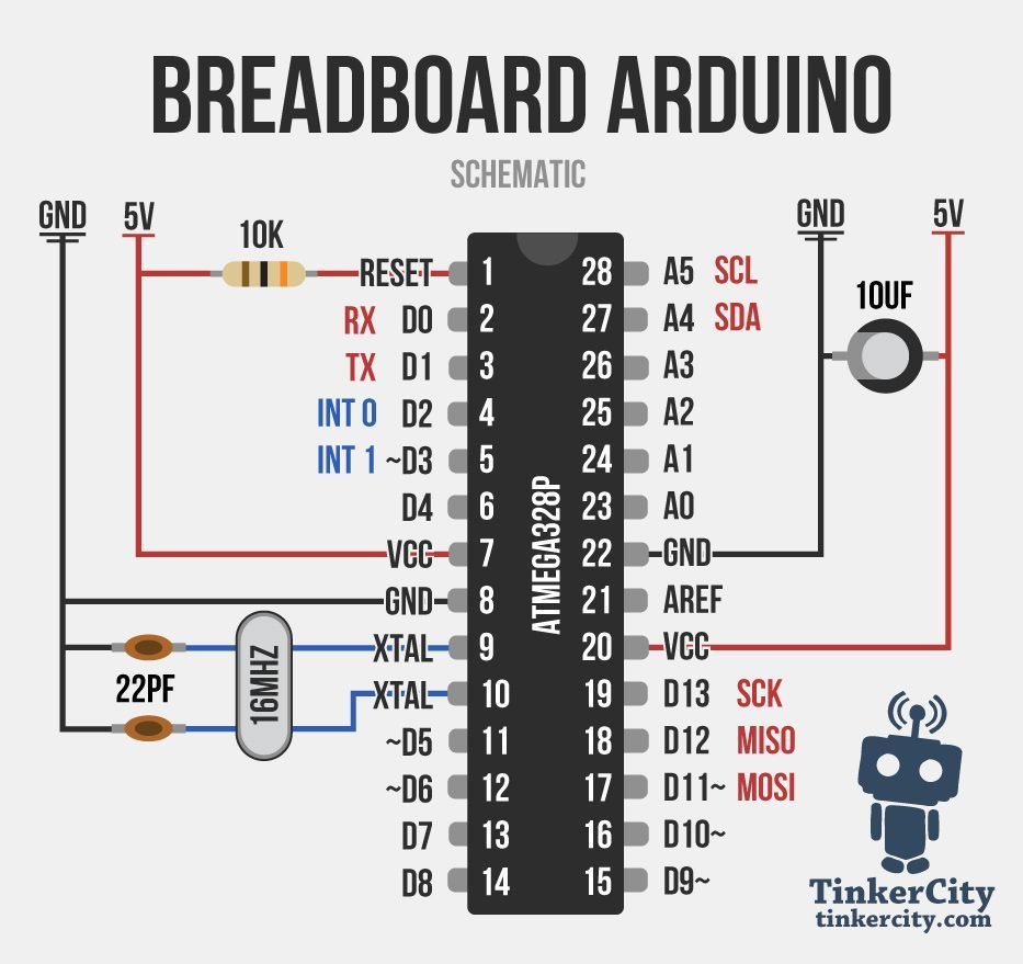 Breadboard arduino Wiring Schematic Arduino projects