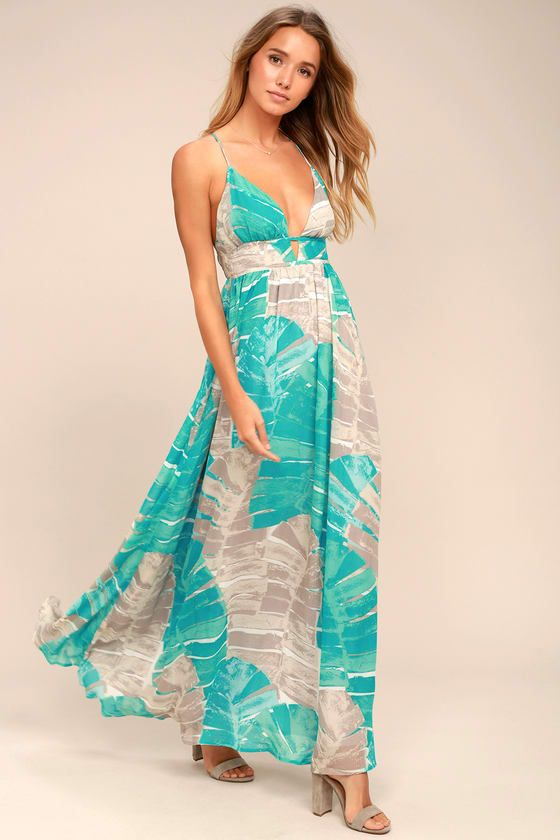 Sea Glass Turquoise Print Backless Maxi Dress | Backless maxi ...
