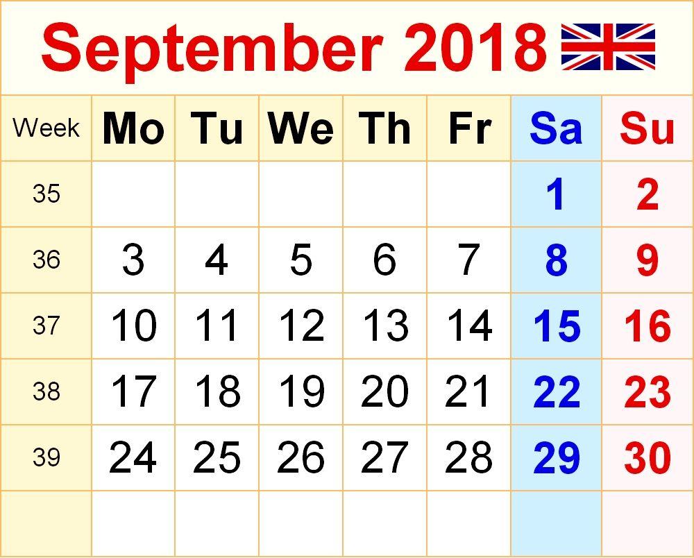 September 2018 Calendar Usa Uk Malaysia Singapore Canada India