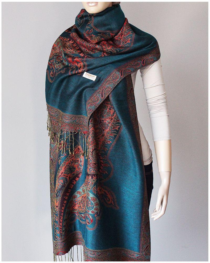 Pashmina Delikatny Szal Welna Silk Jedwab 200x67cm 7308385250 Oficjalne Archiwum Allegro Fashion High Neck Dress Winter Scarf