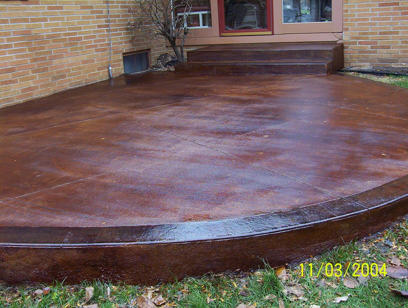 Stamped And Stained Concrete Patio.