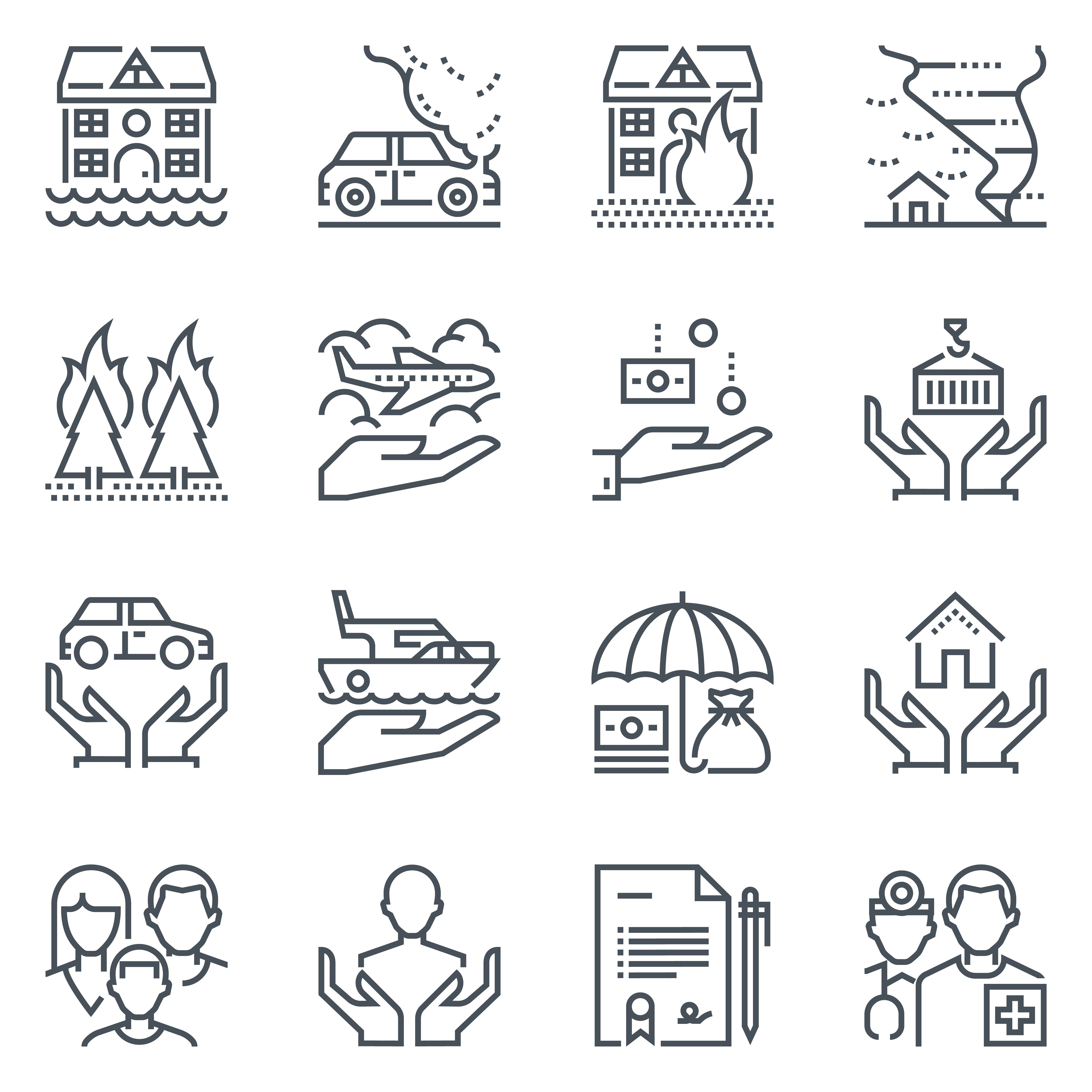 Insurance Icon Set Tree Father Family House Icon Set Icon