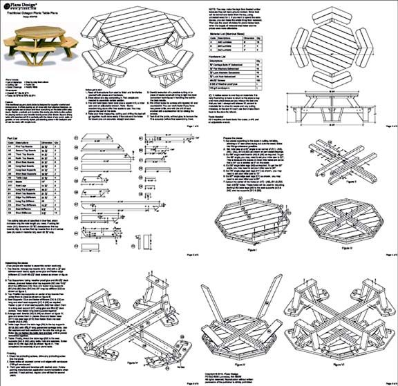 Traditional Octagon Picnic Table Plans Pattern Odf05 Picnic