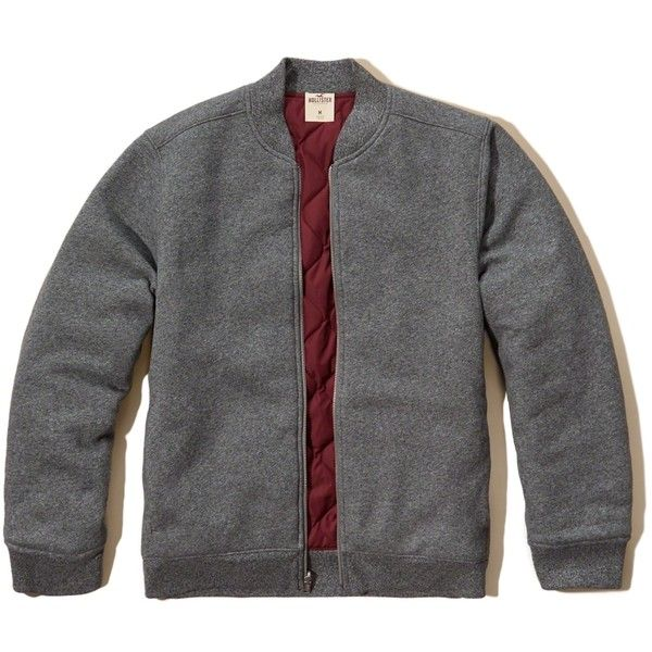 Hollister Reversible Bomber Jacket ($100) ❤ liked on Polyvore featuring  men's fashion, men's clothing, men's outerwear, men's jackets, grey, men's  ...