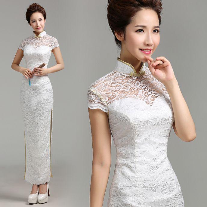 Cheongsam wedding dress white and gold