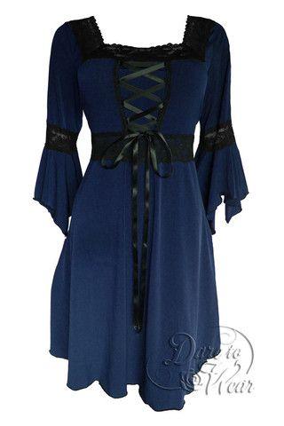 renaissance dress in midnight  black corset dress
