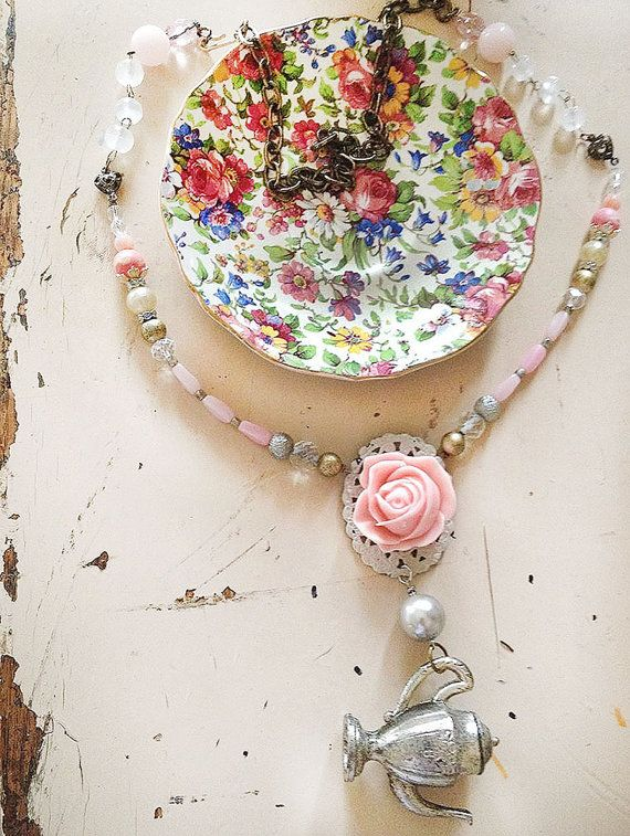 high tea whimsical upcycled beaded necklace..new/vintage by Arey