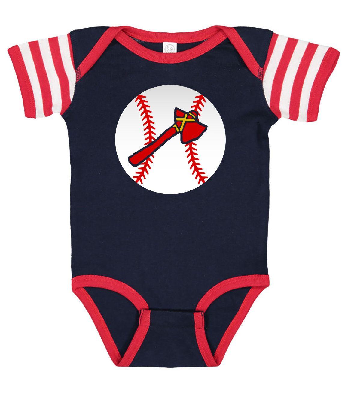 Atlanta Braves Inspired Bodysuit For Baby Etsy Atlanta Braves Baseball Outfit Gameday Dress