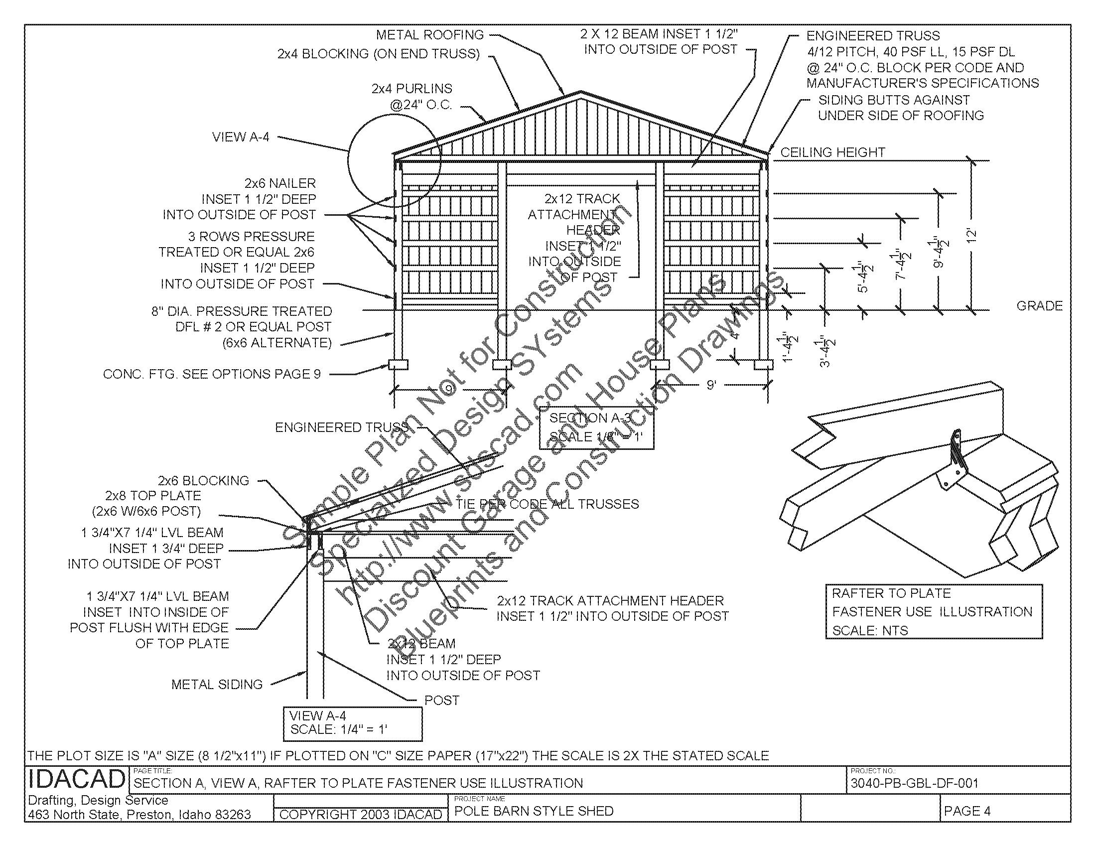 Superb Pole Barns Building Plans #10: PB1 30 X 40 X 12 Pole Barn Plan