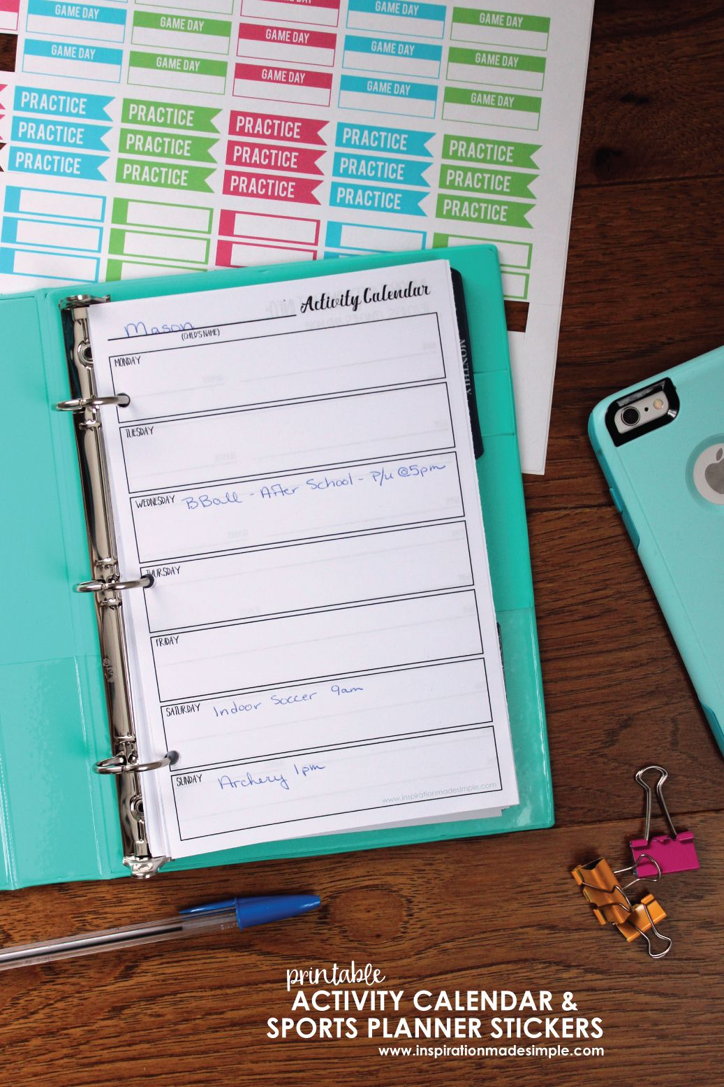 Kids Calendar With Activity Stickers : Youth sports planner stickers planners notebooks journals