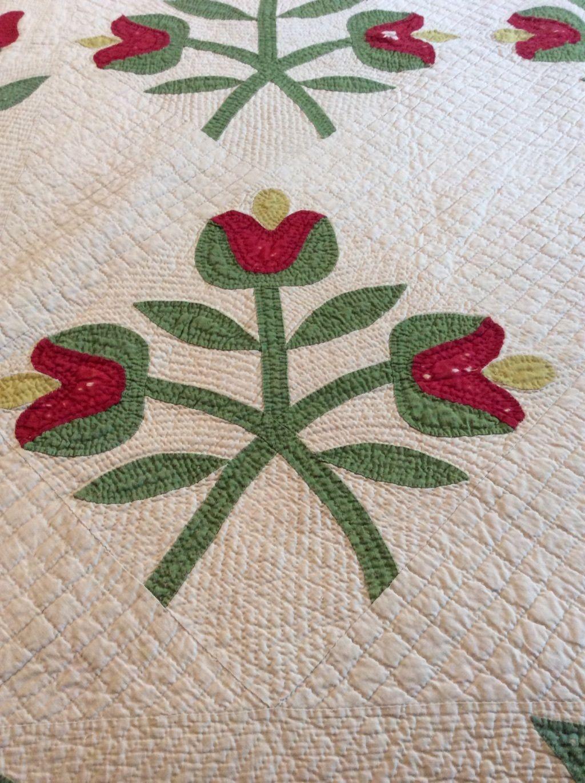Antique red, white, green appliqué quilt in Antiques, Linens ...