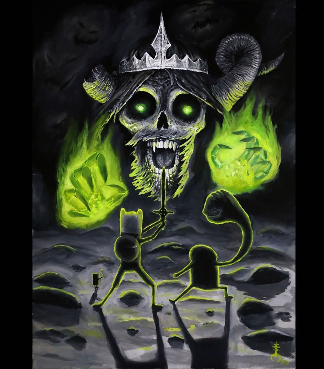 Here's another commissioned painting.  Oil on canvas 50x70 The lich is one of my favorite adventure time characters. Which one do you like best? Follow @mori_occultum Done with @intenzetattooink @fkirons #flux @eliteneedle @auafee_supply @tattooarmourpro To get tattooed contact info@mori-occultum.com  #intenzefamily #fkironsproteam #fkirons  #ink #tattooist #tattoo  #tattooed  #tattoolife#tattoocommunity #tattooistartmag  #sullenclothing #realistic  #inkedmag #tattoodo #munich  #skinartmag #theb