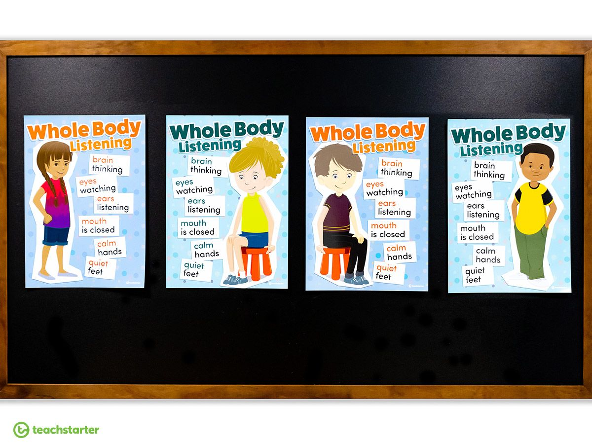 Whole Body Listening Posters Teaching Resource